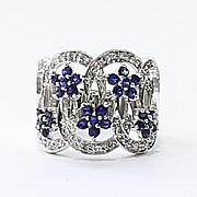 Lady's Vintage Custom 14K Diamond & Sapphire Ring