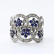 Lady's Vintage Custom 14K Diamond & Sapphire Ring