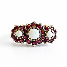 Lady's Vintage 9K English Opal & Garnet Ring