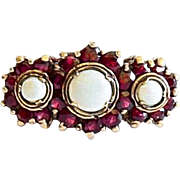 Lady's Vintage 9K English Opal & Garnet Ring
