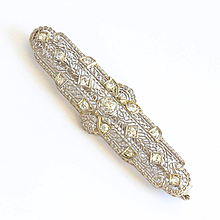 Circa 1910 Edwardian 14K Diamond Bar Brooch
