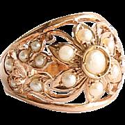 Lady's Vintage 14K Rose Gold Pearl Ring
