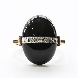 Lady's Vintage 10K Art Deco Onyx & Diamond Ring