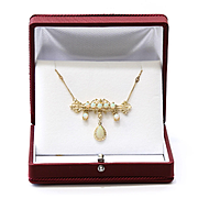 Lady's Circa 1900 Antique 14K Opal Necklace