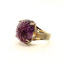 Vintage Circa 1920's Egyptian Revival 14K Carved Amethyst Ring