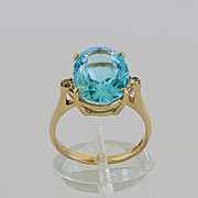 Lady's Vintage 14K Sky Blue Topaz & Diamond Ring