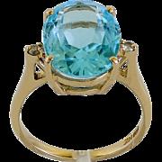 Lady's Vintage 14K Sky Blue Topaz & Diamond Ring
