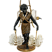 "Antique French Liquor Service Caddy, 14.5"" Tall Female Blackamoor Statue Tantalus, Napoleon III era Liqueur Cabaret, Enameled Glass Whiskey Barrel Decanter & Mini Mug Cordials"
