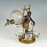Antique French Napoleon III era Liquor Caddy Cabaret, Blackamoor Statue Tantalus, Enameled Glass Whiskey Barrel Decanter & Cordials Serving Set