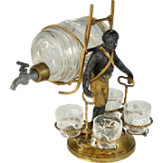 Antique French Napoleon III era Liquor Caddy Cabaret, Blackamoor Statue Tantalus, Enameled Glass Whiskey Barrel Decanter & Cordials Serving Set