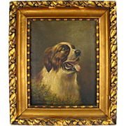 British Artist L. M. Webb Signed Saint Bernard Dog Portrait Painting