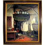 Listed Artist Arie J. Zwart Oil Painting of Dutch Interior View, Hague School