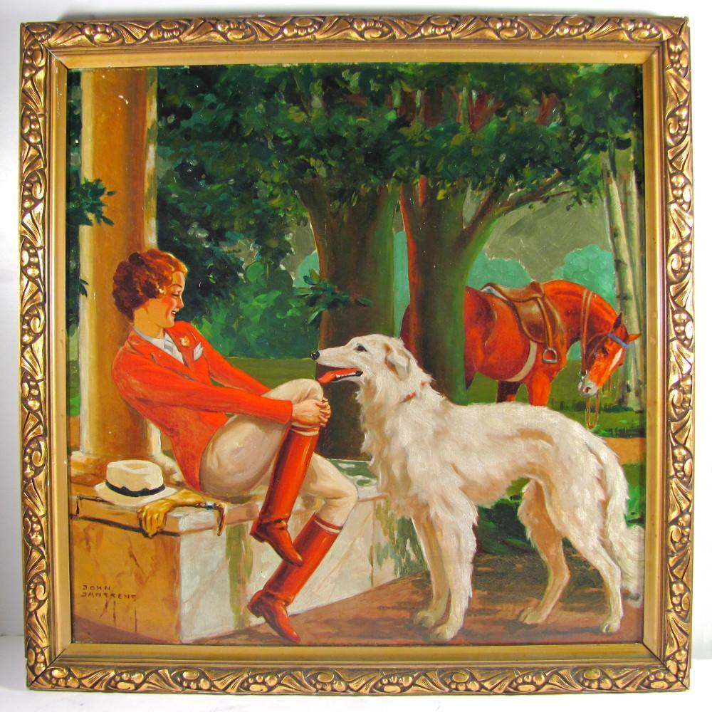 Stunning Art Deco Equestrian Lady, Borzoi Dog & Horse, Painting Signed Belgian Artist