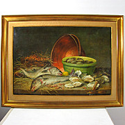 Superb Antique 19thc Belgian Painting Hunting Still Life Fish, Shrimp & Oysters, Listed Artist Charles De Naeyer