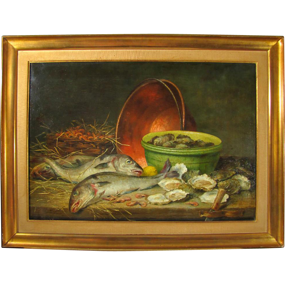 superb antique 19thc belgian painting hunting still life