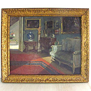 Superb Belgium Parlor Interior Genre Painting Virginie Cokelberghs 'Le Salon Vert' Dated 1925