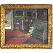 Belgian Parlor Interior Genre Painting by Virginie Cokelberghs 'Le Salon Vert' Dated 1925