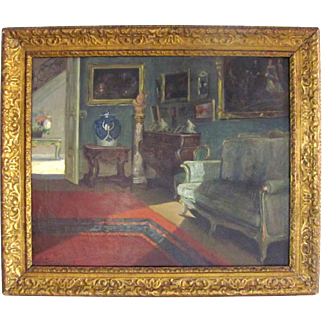 Superb Belgium Parlor Interior Genre Painting Virginie Cokelberghs 'Le Salon Vert' Dated 1925