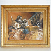 Four Playful Kittens Dutch Oil Painting by Jan Van Trirum