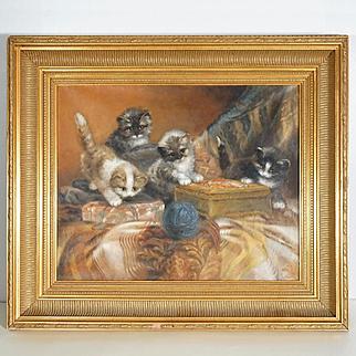 Four Playful Kittens Dutch Oil Painting by Jan Van Trirum