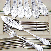 24pc Antique French Sterling Silver Art Nouveau Fork & Knife Fish Service Flatware Set