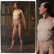 Antique French Oil Painting Academic Male Nude Full Length Portrait Dated 1882
