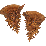 Pair Hand Carved Wood Cherub / Putti Figures Wall Shelves, Consoles