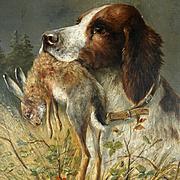 Antique German Hunting Scene Painting Moritz Müller (1841-1899) Spaniel Dog & Rabbit