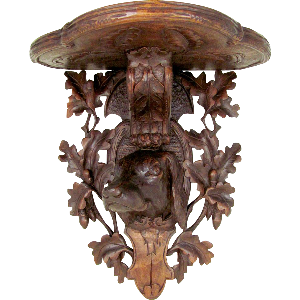 Antique Hand Carved Black Forest Hunting Hound Dog Head, Figural Wall Bracket Shelf, Oak Leaves & Acorns