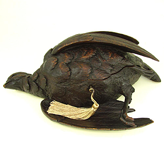 Rare Large Antique 19thc Black Forest Carved Wood Hunting Game Bird Figural Jewelry Box