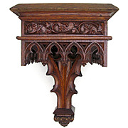 Large Antique 19thc Gothic Hand Carved Wood Reticulated Wall Mount Shelf Bracket Console