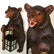 Swiss Black Forest Hand Carved Bear Solid Wood Lamp Lantern Signed Ruef Brothers Brienz
