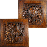 Pair Large Antique Black Forest Hand Carved Wood Panels Fruits of the Hunt Theme Trophy Wall Plaques - Still Life Carving of Birds & Fish, Stingray - Fishing & Hunting Decor