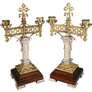 Pair Antique Bronze or Brass Silver Gilt Candelabras Gothic Styling Fleur-de-lis Finials