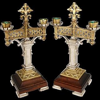 Pair Antique Bronze or Brass Silver Gilt Candelabras Gothic Styling Fleur-de-lis Finials