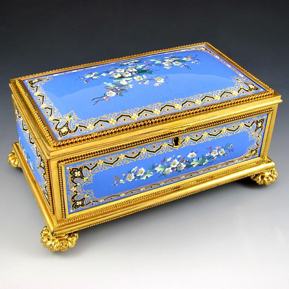 "Superb 8"" Antique French Gilt Bronze Jewelry Casket Box, Raised Enameled Jewels / Kiln Fired Enamel on Copper Plaques"