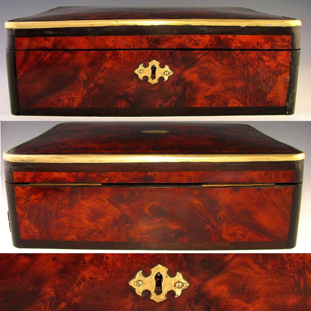 Antique English Burl Wood Ebony Inlaid Jewelry Box Spring