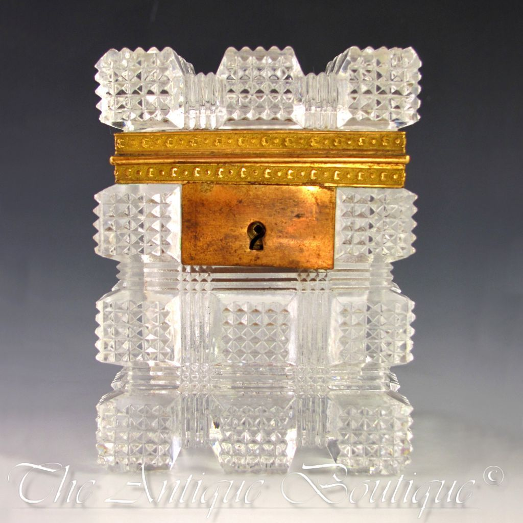 Antique French Cut Crystal Sugar Casket Box, Bronze Mounts