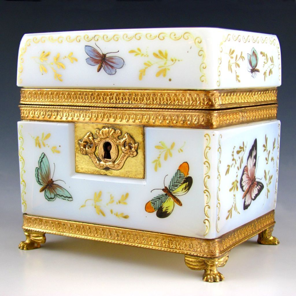 French Bulle de Savon Opaline Glass & Gilt Bronze Jewelry Casket, Colorful Enamel Butterfly,