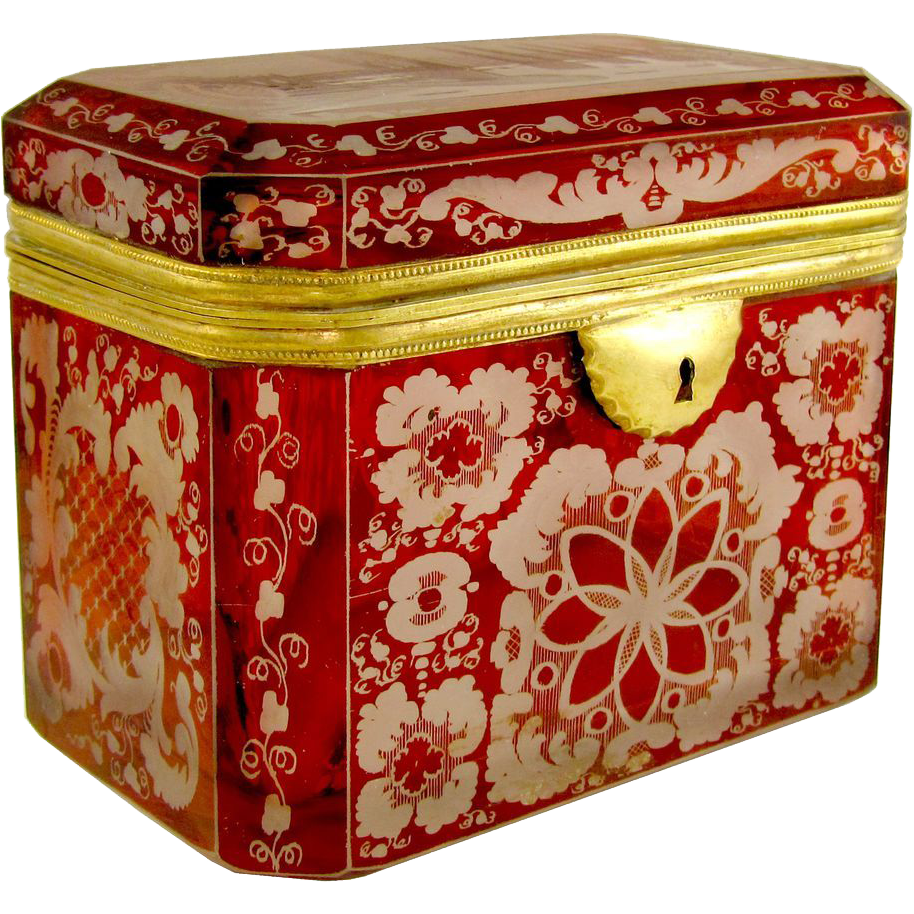 Antique Bohemian Ruby Glass Engraved Intaglios, Spa View, Jewelry Box, Sugar Casket