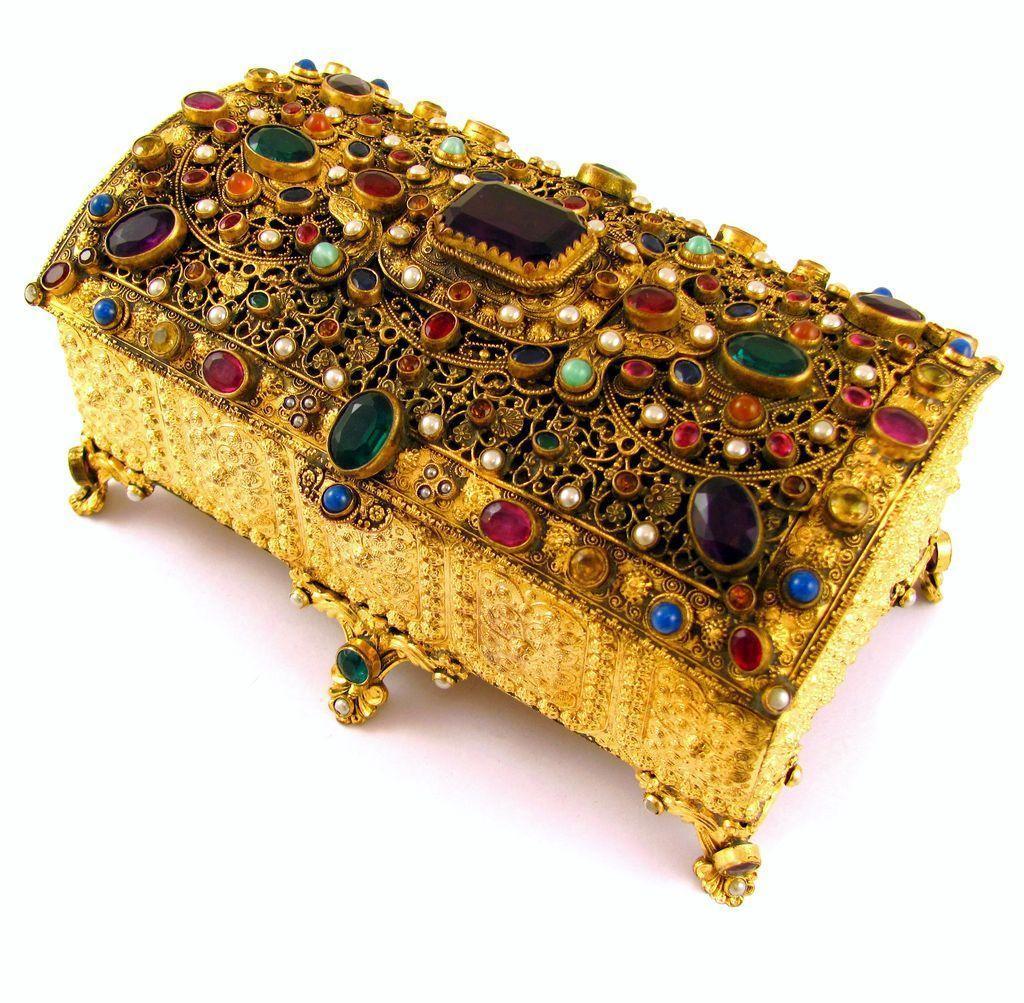 Antique Austrian Jeweled Encrusted Gilt Ormolu Jewelry Box Casket The Boutique Ruby Lane