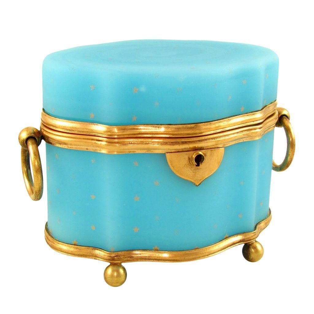 Antique French Blue Opaline Glass Serpentine Shaped Jewelry Box / Casket