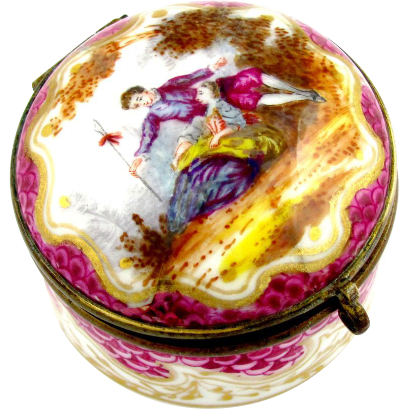 Antique French Paris Porcelain Hand Painted Patch / Snuff Hinged Box Gilt Interior, Marc Eugene Clauss