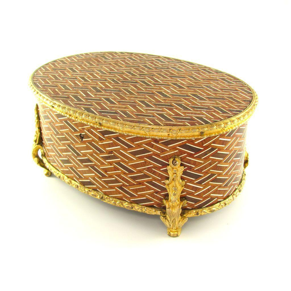 Antique French Napoleon III Gilt Bronze Marquetry Inlay Wooden Jewelry Casket Box