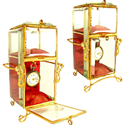 Antique French Napoleon III Beveled Glass & Gilt Ormolu Pocket Watch Holder & Jewelry Box Display Vitrine