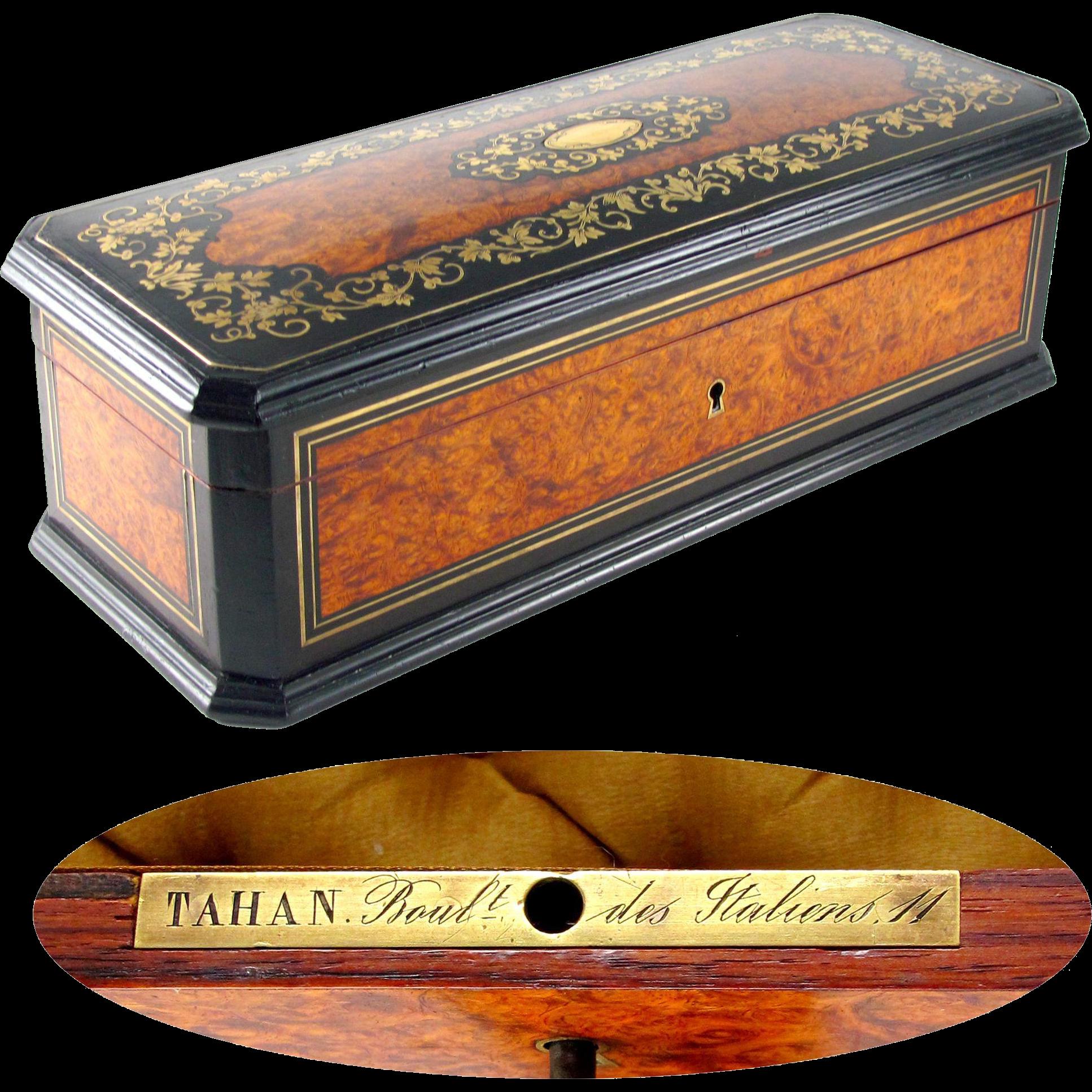 Antique French TAHAN Burl Wood Brass Inlaid Jewelry Box / Casket