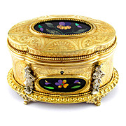 Antique French Pietra Dura Gilt Bronze Ormolu Jewelry Casket Box