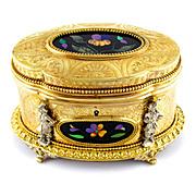 Antique French Pietra Dura Gilt Bronze Ormolu Jewelry Casket Box