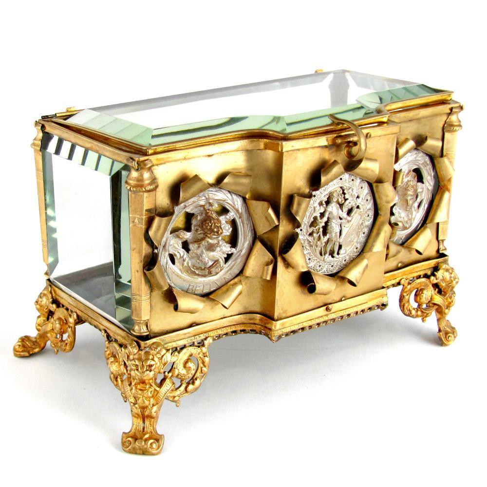 Large Antique French Gilt Ormolu Thick Beveled Cut Glass Jewelry Box, Figural Silvered Bronze Medallions, Display Vitrine Casket