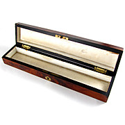 Antique French Napoleon III Era Burl Wood Inlaid Fan Box, Casket